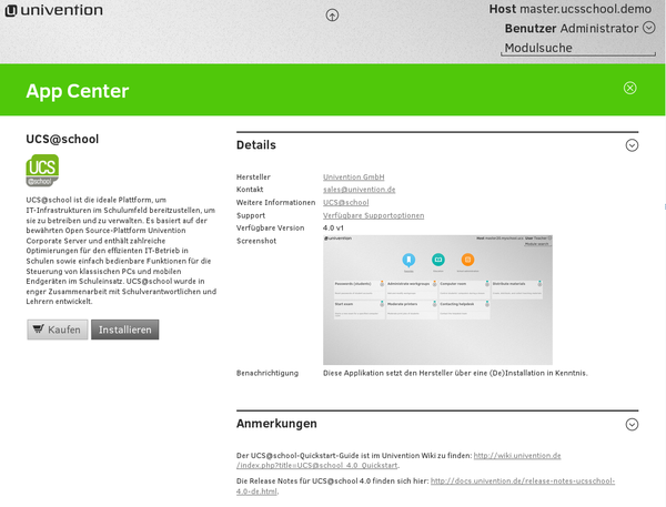 Installation der UCS@school-Erweiterung über Univention App Center